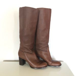Tory Burch Wyatt Stovepipe Heeled Boots Toffee 9
